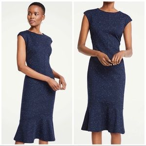 Ann Taylor Speckled Ponte Sheath Navy Dress - 00
